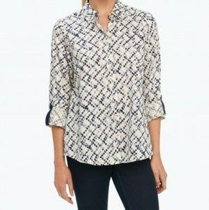 Foxcroft block print contrast blouse
